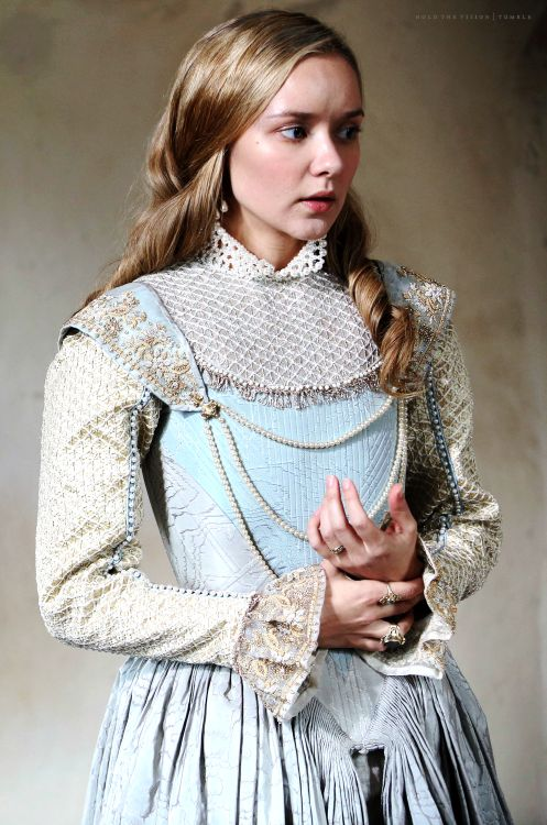 Queen Anne - Alexandra Dowling in The Musketeers, set in the 1630s (BBC TV series 2014-). Her hair is AMAZING and I love the musketeers