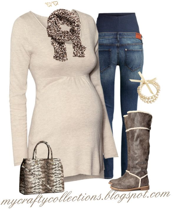 Maternity Outfit - Animal Print - Love this look ~ Tunic sweater, jeans, awesome boots, lovely bracelet, animal print purse and scarf. Plus, this is a one stop shop, everything can be found at the same store.