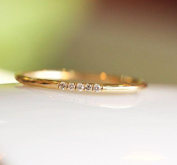 14k amarillo sólido oro diamantes anillo de bodas en allanar