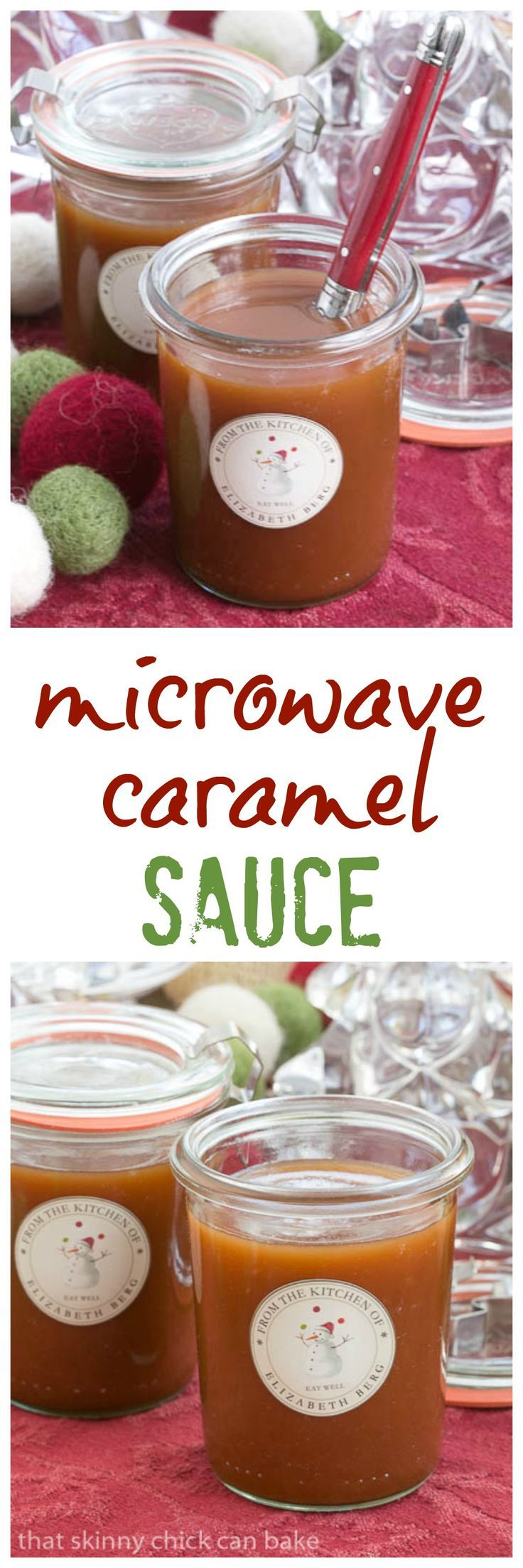 Microwave Caramel Sauce   A terrific hostess or holiday gift! @lizzydo