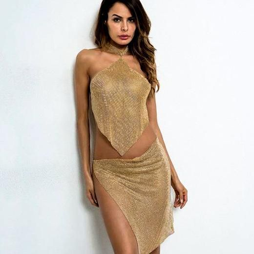 Crystal Mesh Outfit Halter Neckline backless. The bling prom gold metallic dress…