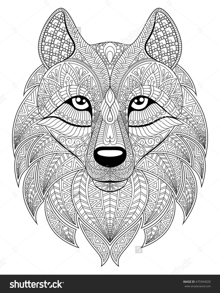 Wolf Head In Zentangle Style Adult Antistress Coloring