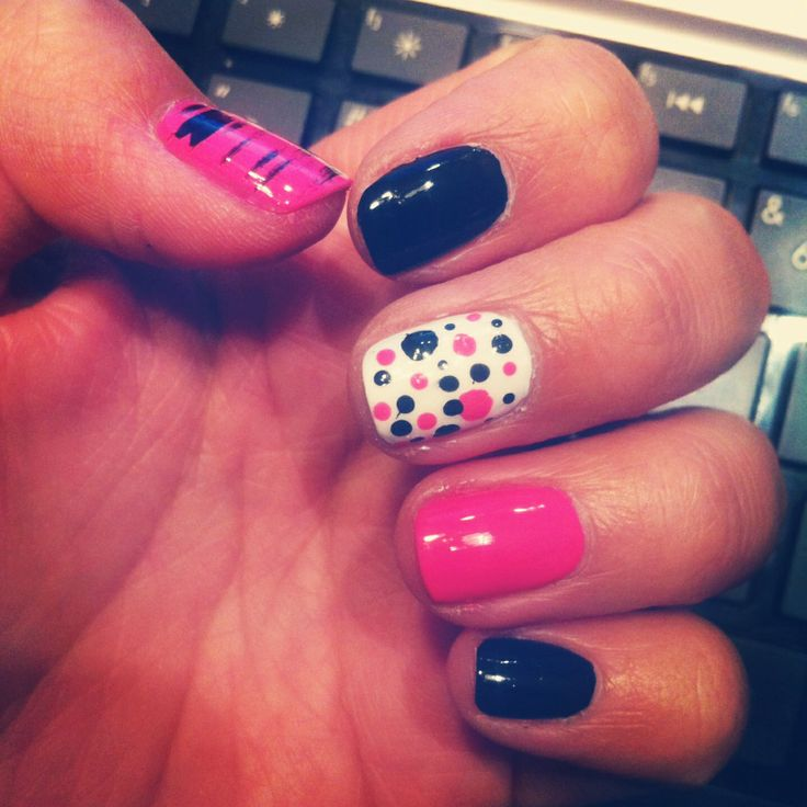 Pink black #nails