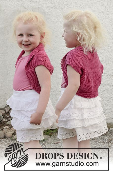 Knitted bolero with short rows, picot edges and garter stitch in Free pattern by DROPS Design.