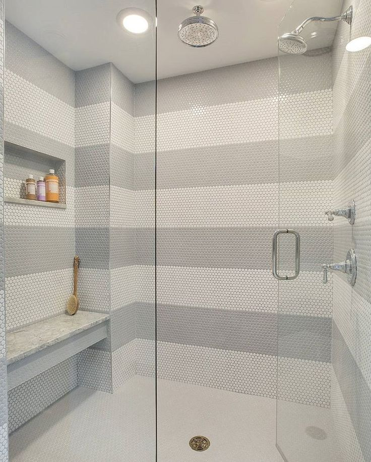#Affordable And #Beautiful Shower #tile Option! White And Grey Penny Round Tiles Create A Fun