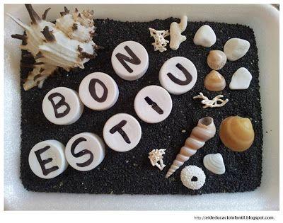 composició de paraules amb lletres en taps de plàstic