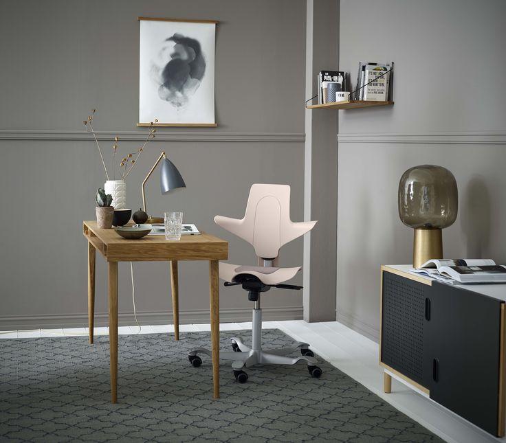 Pink home office with HÅG Capisco Puls #InsprieGreatWork #Scnadinavian #design #Homeoffice