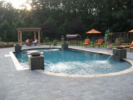 Roman Gunite Pool With Tiled Columns Enhanced Lion Head Water Feature And Firebowls Swimming Pools Pinterest