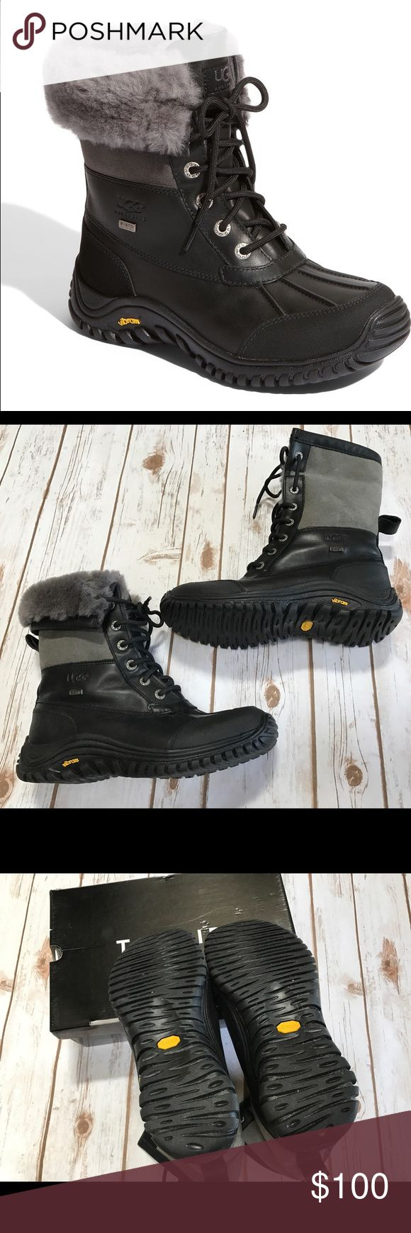 Ugg Adirondack II Waterproof Boot size 8 Worn maybe two times? No box. Can be worn with the tops flipped down (see last picture) or laced all the way up. UGG Shoes Winter & Rain Boots
