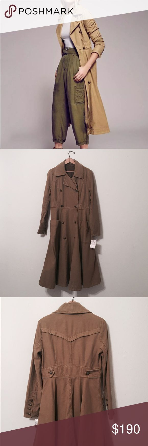 FREE PEOPLE Khaki Trench Coat New with tags, khaki colored trench coat from free people! New and comes with its tags, never worn and has a fabulous look with beautiful button design! Free People Jackets & Coats Trench Coats