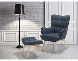 Fotel ciemnoniebieski + pufa - fotel tapicerowany - krzeslo - VEJLE