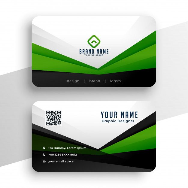 Download Geometric Green Business Card Professional Design Template For Free Business Card Design Simple Free Printable Business Cards Vector Business Card