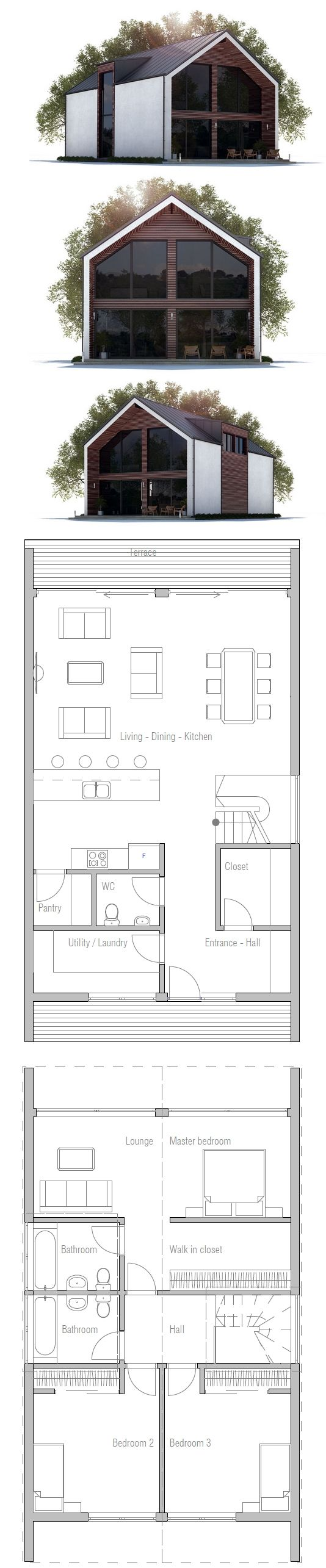 Alternative floor plan using 4x40 foot shipping container with a clear story between the two top to create more width