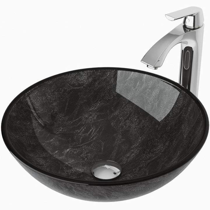 Vigo Gray Onyx Glass Circular Vessel Bathroom Sink With Faucet