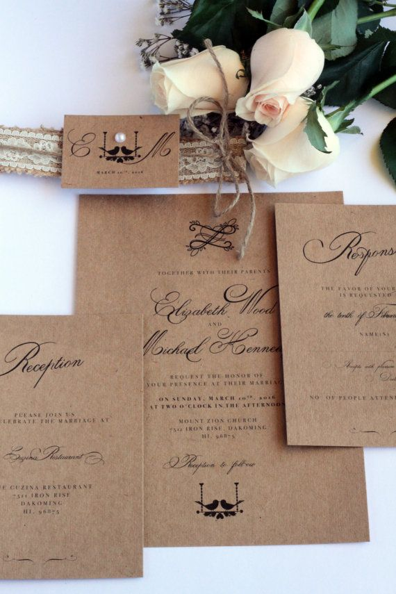 Rustic Wedding Invitation, Love Birds, Burlap Belly Band, Lace, Pearl and Twine, Premium Kraft Cardboard