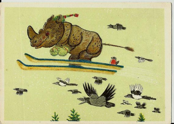 Rhinoceros, magpies - Vintage Russian Postcard - artwork A. Golubev 1966  by LucyMarket