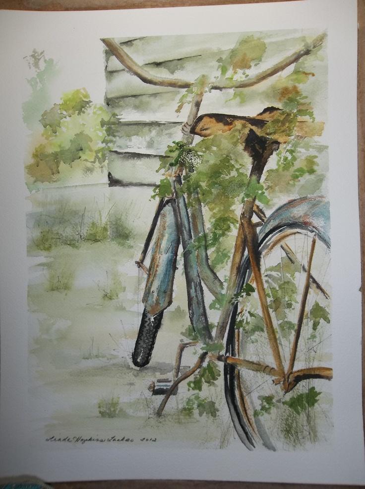 bike behind the house 12x16 original watercolor by Linda Hopkins Laakso