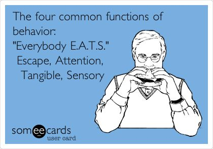 The four common functions of behavior: 'Everybody E.A.T.S.' Escape, Attention, Tangible, Sensory