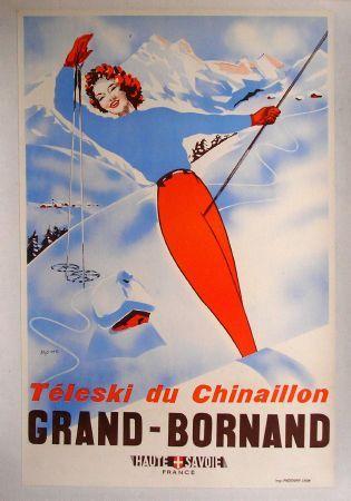 Affiche, poster rétro, Grand-Bornand - Téléski du Chinaillon, Haute-Savoie, France http://www.tourisme.fr/2862/office-de-tourisme-le-grand-bornand.htm