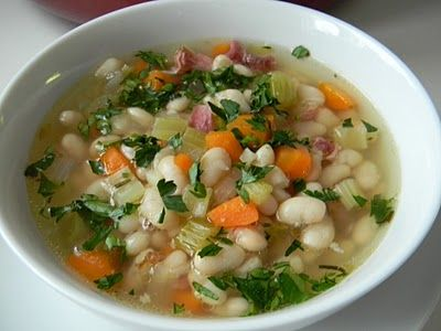 White bean soup with ham bone.  Step by step instruction.