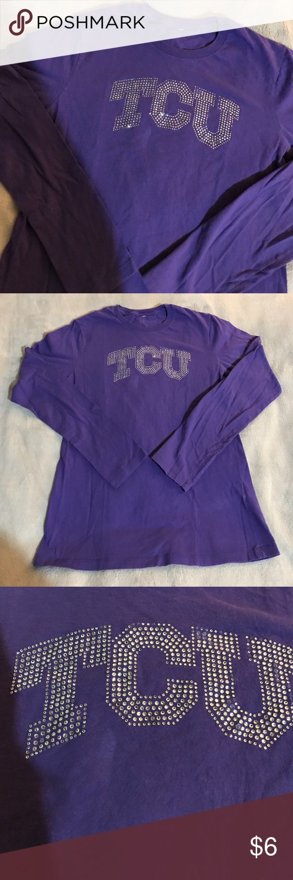 Used TCU long sleeve shirt Very cheap because diamonds are coming off. Easily replaced if you are arts and crafty. Size small tag came off Tops Tees - Long Sleeve