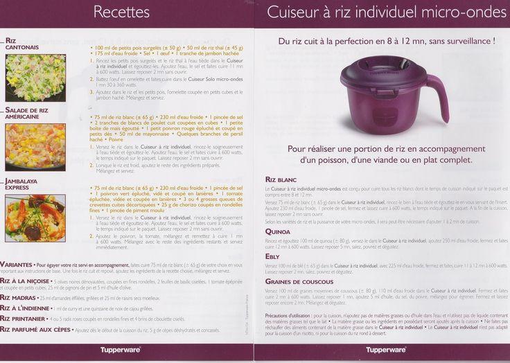 fiche produit: Cuiseur à riz individuel / solo Tupperware