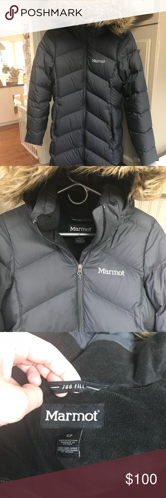 Women's Marmot down coat (coal) Women's size small, dark gray/coal colored. 700 goose down fill. Knee length, removable hood, zip pockets. So warm! Tiny little snag that's repaired on lower bottom right. $400 new, one owner, no smoking, clean. Marmot Jackets & Coats Puffers