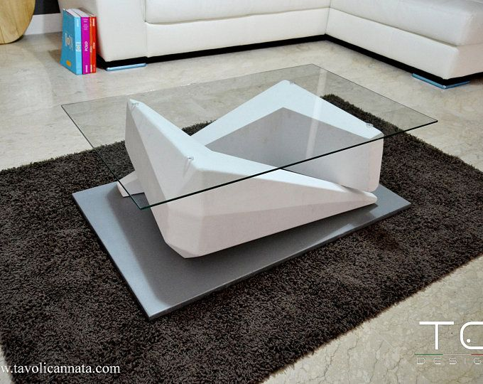 Table Basse En Verre Moderne Bois Blanche Etsy Coffee Table Furniture Decor