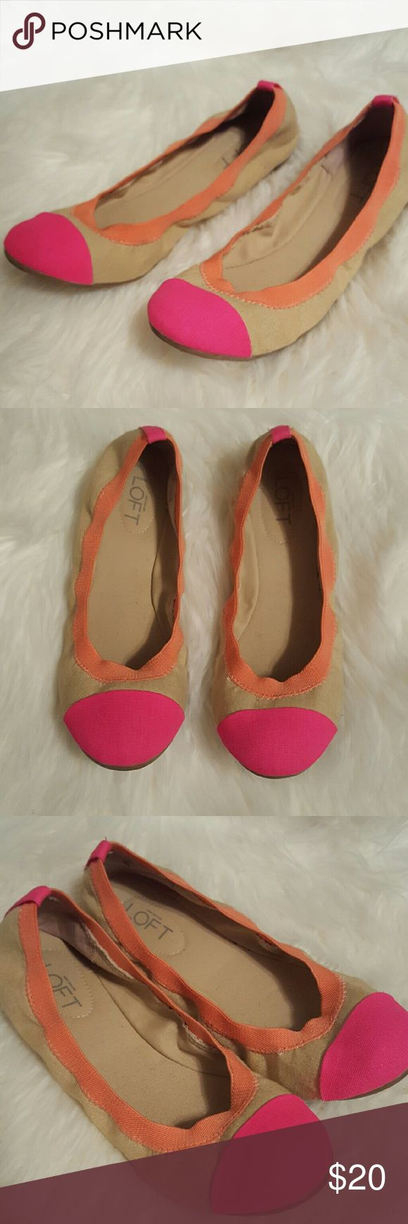 """Loft Colorblock Flats These flats have been gently lived in. They were only worn a few times and remain in great condition with minor sign of wear. They are comfortable and definitely have a """"wow!"""" Factor. LOFT Shoes Flats & Loafers"""