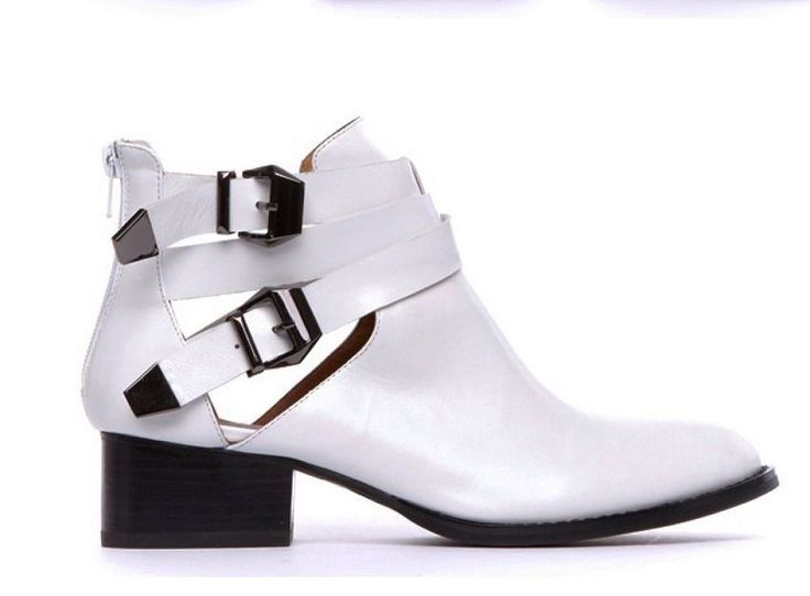 NWB JEFFREY CAMPBELL EVERLY CUTOUT ANKLE BOOTS in WHITE sz US 8.5