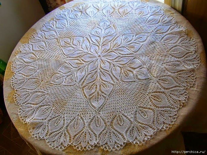 Patrones carpeta circular tejida con dos agujas / palillos