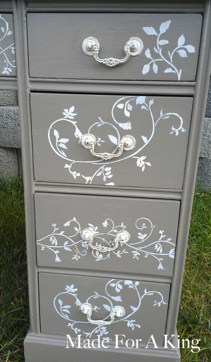 Stenciled drawer fronts made for a king diy furniture - Paint stencils for furniture ...