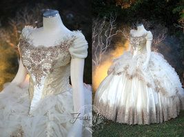 Beauty and the Beast Wedding Gown by Lillyxandra. I love the bodice.