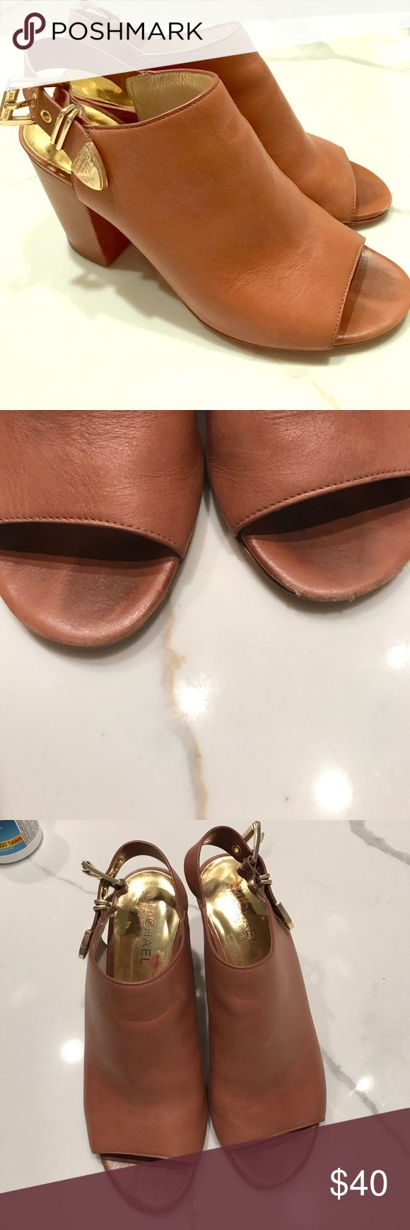 Michael Kors Sandals Beautiful Michael Kors shoes. Have been worn but have tons of life left. Have some scuff marks- as pictured (price reflected). These shoes look great with dresses, shorts and skinny jeans. Beautiful color. 🛑NO TRADES🛑 MICHAEL Michael Kors Shoes Heels