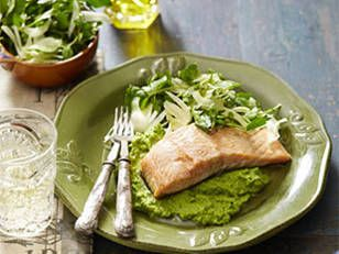 Ingredients; 6 x 175g pieces salmon fillet, skin on, bones removed  2 tbs olive oil  Pea Puree: 500g packet frozen peas 1 1/2 cups chicken stock 2 tsp fresh thyme leaves  50g butter, chopped Salt and pepper, to taste  Fennel Salad:  2 baby fennel bulbs (500g) 1 bunch watercress (350g), picked and washed 1/4 cup olive oil 1 tbs lemon juice 2 tsp Dijon mustard 1 tsp horseradish cream 1 tsp honey  Author: New Idea NZ