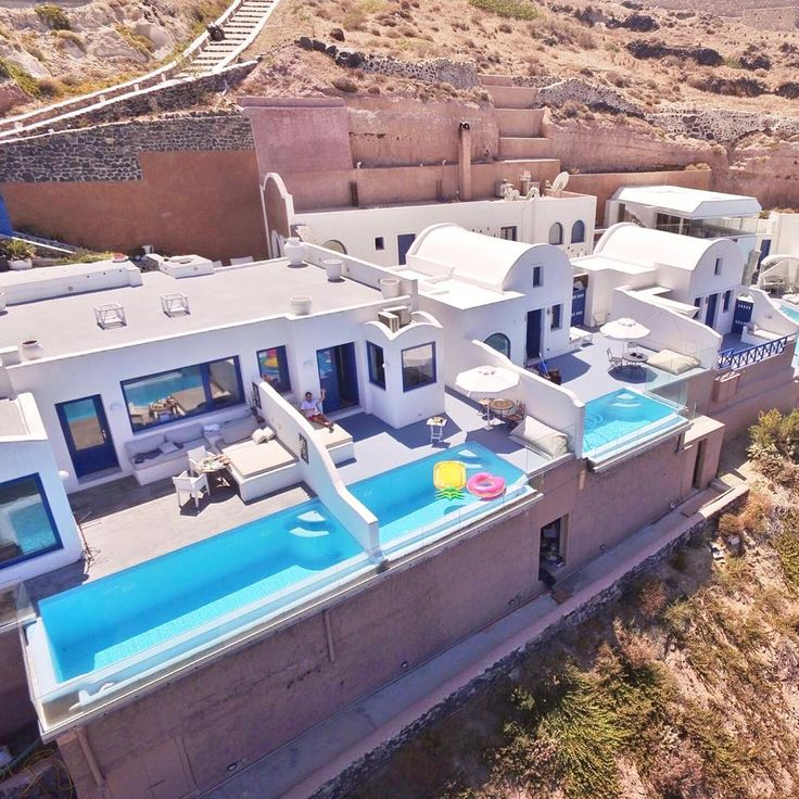 Reversed View! Drone View from Astarte Suites #Hotel | #Santorini #Greece