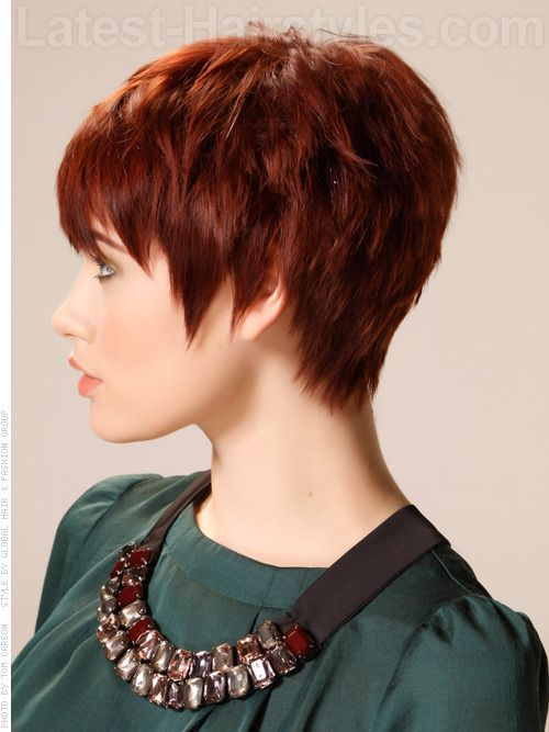 Jagged Edges Auburn Pixie with Long Spiky Bangs Side View | Ha ...