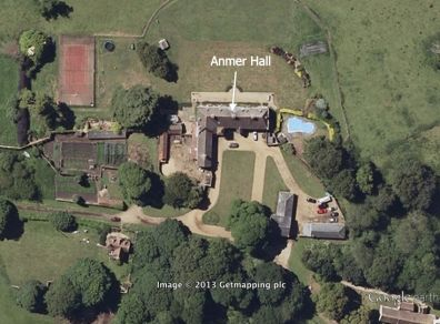 Anmer Hall as it appears on Google Maps. The new residence of Prince William and Kate, the Duke and Duchess of Cambridge, on the royal Sandringham Estate, Norfolk, England, UK.
