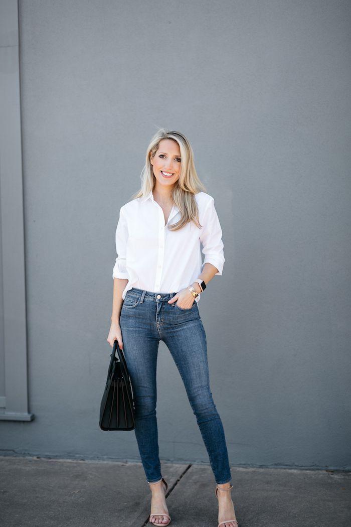 White Shirt Button Down And Skinny L Agence High Rise Jeans Fashion Clothes Women White Shirt Outfits White Shirt And Jeans