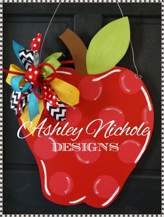Back to School Apple Door Hanger Back to by DesignsAshleyNichole