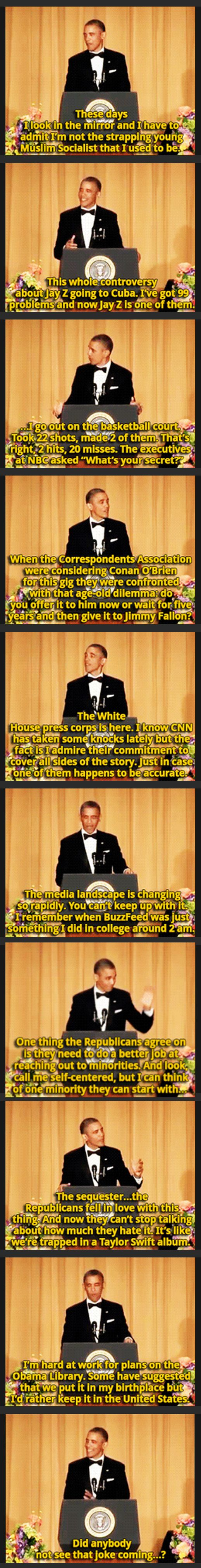 Obamas one liners at White House Correspondents Dinner