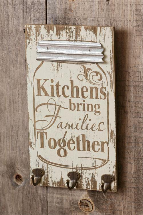 New Primitive Farmhouse Chic Shabby Family MASON JAR KITCHEN SIGN Key Hooks  #Unbranded #Country