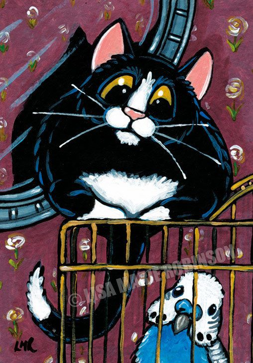 Original ACEO Tuxedo Cat Budgie Cage Bird Whimsical Art by Lisa Marie Robinson #ACEOartcards