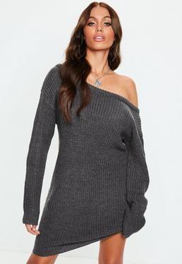6b8650f53c5 Dark Gray Off Shoulder Knitted Sweater Dress