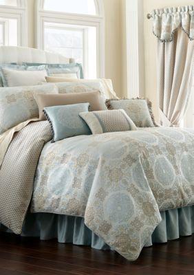 Waterford  Jonet California King Comforter Set - Cream/Aqua - Cal. King