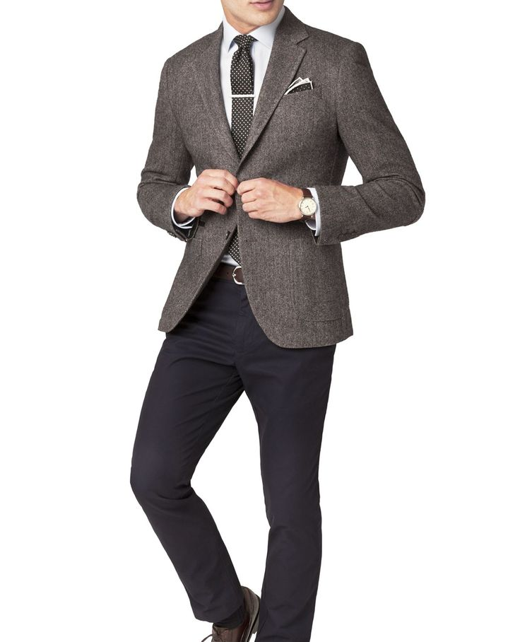 Portobello Grey Herringbone Boiled Wool Jacket