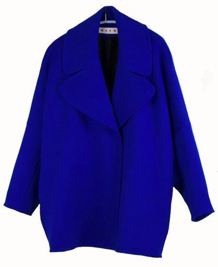shop Marni  Cappotti: Giacca  Marni in lana doppiata, abbottonatura frontale con automatici, maniche ampie, colletto largo, forma a uovo, tasche laterali, lunghezza al sedere, color mazarine blu, fodera nera in seta.  Composizione: 92% lana, 6% poliammide, 2% elastan. Fodera: 100% seta.