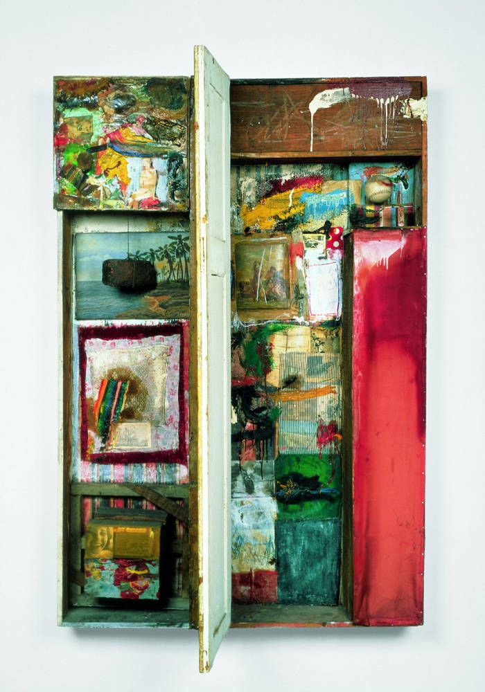 Robert Rauschenberg (American, 1925-2008) - Interview, 1955.   Combine painting. 184.8 x 125 x 63.5 cm (72 3/4 x 49 1/4 x 25 in.)