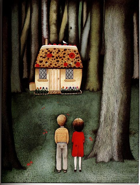 """Hansel and Gretel"" by Anthony Browne. ""They followed it until they came to a little house. When they came closer, they saw that the little house was built entirely from bread with a roof made of cake, and the windows were made of clear sugar."""