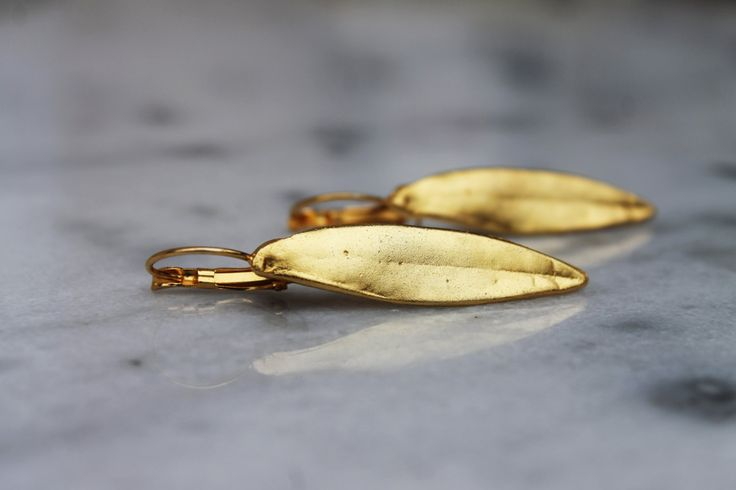Handmade/earring/base metal/gold plated/24 carats/olive leaves by CrownedCharm on Etsy